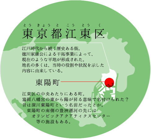 東京都江東区(とうきょうとこうとうく) 江戸時代から続く歴史ある街。徳川家康公による干拓事業によって、現在のような平地が形成された。地名の多くは、当時の役割や状況を示した内容に由来している。 / 東陽町(とうようちょう)。江東区の中央あたりにある町。富岡八幡宮の東から陽が昇る意味で名付けられた?昔は深川東陽町という名前だったとか。東陽町の南側の豊洲運河の先にはオリンピックアクアティクスセンター等の施設もある。